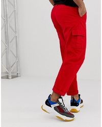 ASOS DESIGN Cargo Trousers In Bright Red