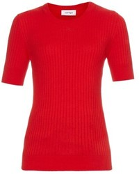 Courreges Courrges Ribbed Knit Cotton And Cashmere Blend Sweater