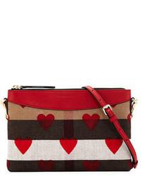 Burberry Peyton Heart Print Check Crossbody Bag Parade Red