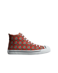 Burberry Tiled Archive Print Cotton High Top Sneakers