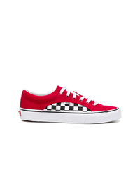 Red Check Canvas Low Top Sneakers