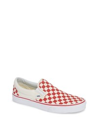 Red Check Canvas Slip-on Sneakers