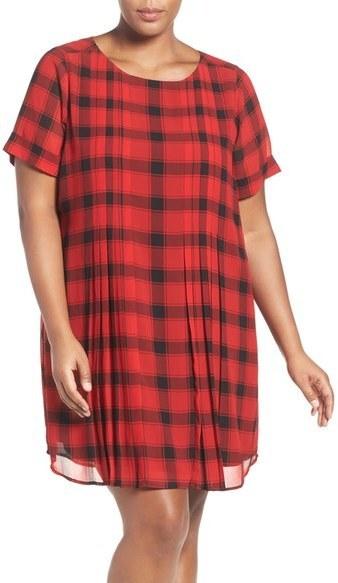 Foxcroft Plus Size Buffalo Check Cuff Sleeve Shift Dress Where To