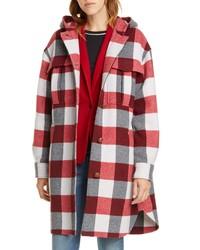 Rag & Bone Beck Buffalo Check Hooded Wool Blend Coat