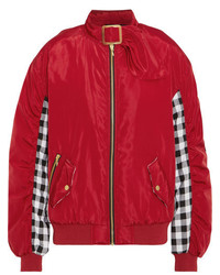 House of Holland Shell And Checked Cotton Bomber Jacket Red