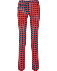 Versace Checked Cotton Blend Twill Straight Leg Pants