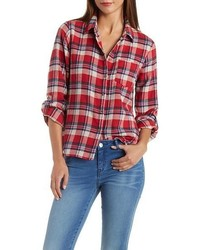 Charlotte Russe Plaid Flannel Button Up Shirt