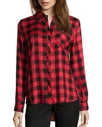 Wyatt Red And Black Plaid Flannel Button Front Shirt