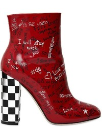 Dolce & Gabbana 105mm Graffiti Leather Ankle Boots