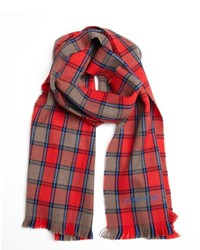Etro Red And Blue Wool Check Scarf