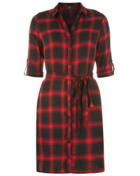 Ax paris navy red check shirt dress medium 436777