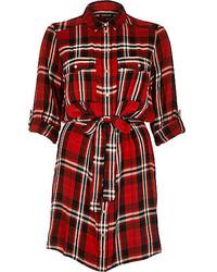 River Island Red Check Shirt Dress
