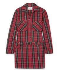 Current/Elliott Tartan Denim Mini Dress