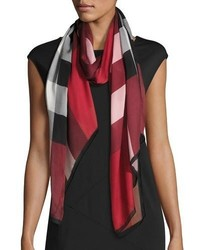 Burberry Ultra Washed Mega Check Silk Scarf Red