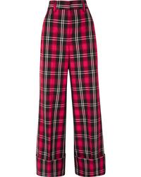 MSGM Tartan Twill Wide Leg Pants