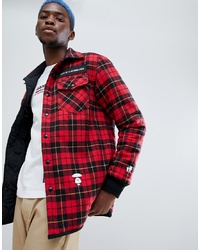 Red Check Wool Shirt Jacket