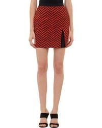 Emanuel dripping chevron print mini skirt black medium 275812