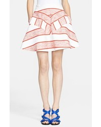 3.1 Phillip Lim Chevron Pattern Flounce Skirt White Red 4