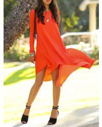 Choies orange red swing long sleeves chiffon high low dress medium 77718