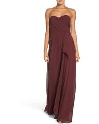Jaycie drape strapless chiffon gown medium 785206