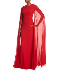 Michl kors collection silk crepe chiffon cape gown crimson medium 3698028