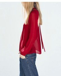 Red Chiffon Long Sleeve Blouse