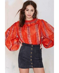 Nasty gal factory vintage amra chiffon blouse medium 335401