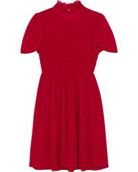 Alexachung ruffled smocked chiffon mini dress red medium 5374745