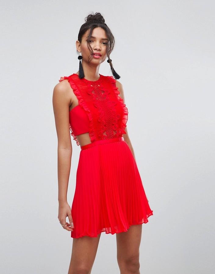 size 7 boy elegant shoes $28, Asos Lace Pinafore Pleated Mini Dress