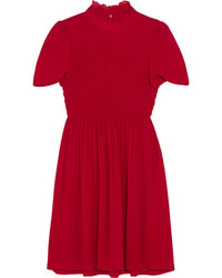 ALEXACHUNG Ruffled Smocked Chiffon Mini Dress Red