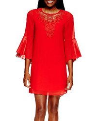 jcpenney By And By Byby Flutter Sleeve Crochet Neck Chiffon Shift Dress