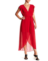 NSR Flutter Sleeve Faux Wrap Dress