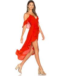 Nicholas Georgette Wrap Dress In Red Size 0
