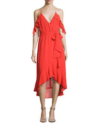 Nicholas V Neck Georgette Ruffled Wrap Dress Red