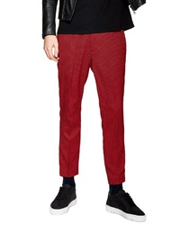 Topman Cropped Skinny Fit Houndstooth Trousers