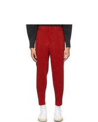Homme Plissé Issey Miyake Red Cropped Tapered Trousers
