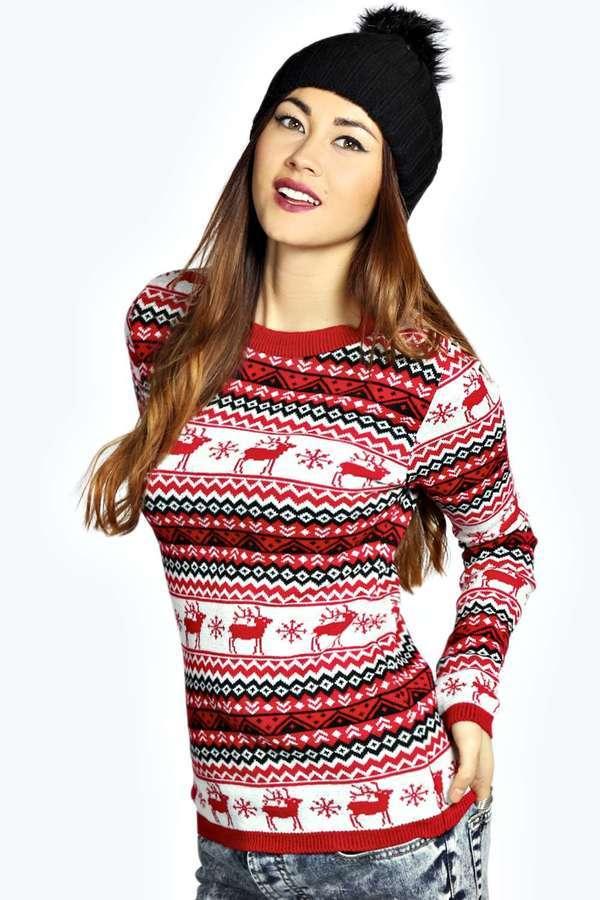 Boohoo Bea Reindeers Fairisle Christmas Jumper | Where to buy ...