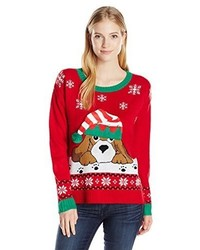 Blizzard Bay Juniors Dog With Jingle Bell Hat Christmas Pullover Sweater