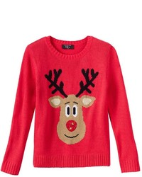 It's Our Time Girls 7 16 Reindeer Holiday Sweater