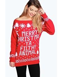 Violet slash neck filthy animal christmas jumper medium 6456850