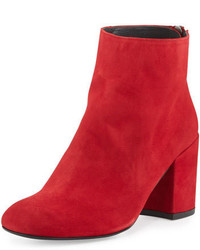 Red Chunky Suede Ankle Boots
