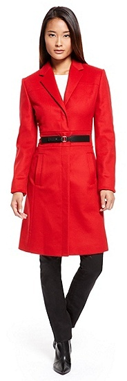 b7fbfb6e0e9 Mariett Virgin Wool Cashmere Blend Belted Coat Medium Red. Red Coat by Hugo  Boss
