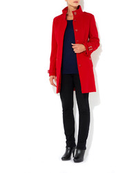 Wallis Red Petite Funnel Coat | Where to buy &amp how to wear