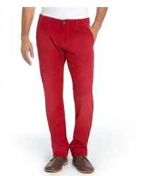 Robert Graham Red Cotton Slim Fit Butter Corduroy Pants
