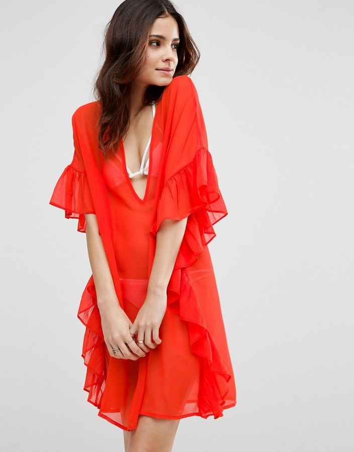 Asos Beach Cover Up With Frill 22 Asos Lookastic