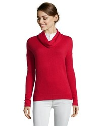 Magaschoni Red Cashmere Cowl Neck Long Sleeve Sweater