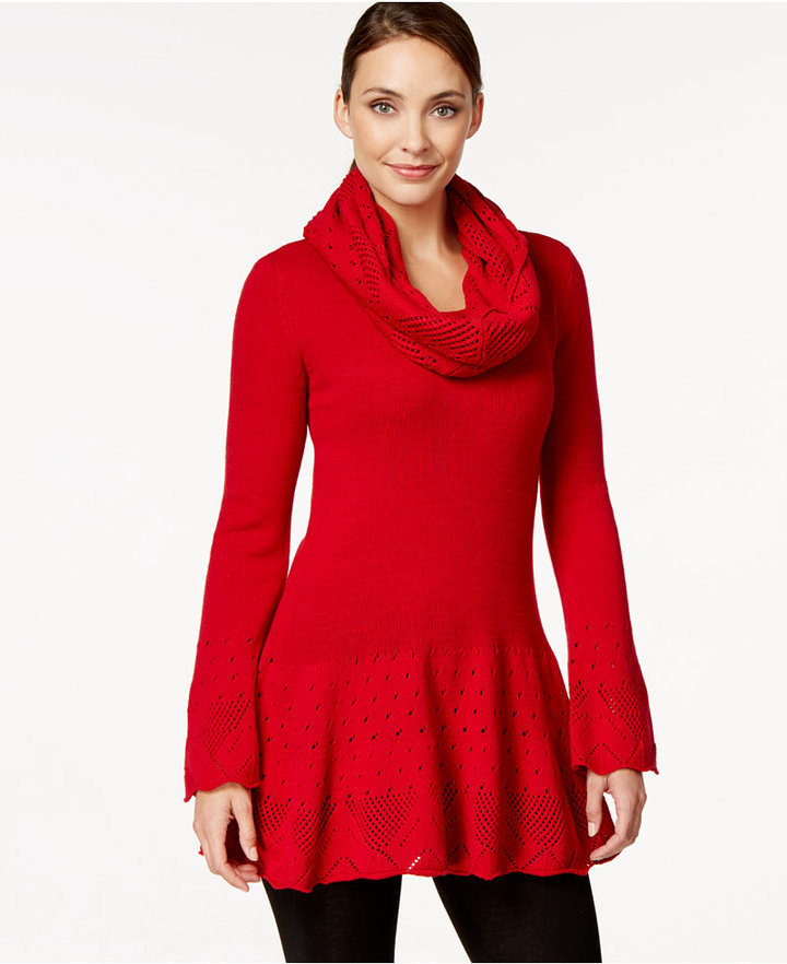 Style Co Pointelle Knit Tunic Sweater With Cowl Scarf Only At ...