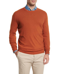 Loro Piana Baby Cashmere Crewneck Sweater Orange