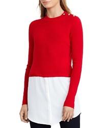 Lauren Ralph Lauren Button Shoulder Mixed Media Sweater