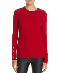 C By Bloomingdales Button Crewneck Cashmere Sweater 100%